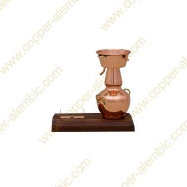 Miniature Copper Alquitar, Wood Base & Bottle Holder