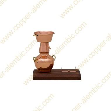 Miniatura Alquitara en Cobre, Base Madera y Soporte de Botella