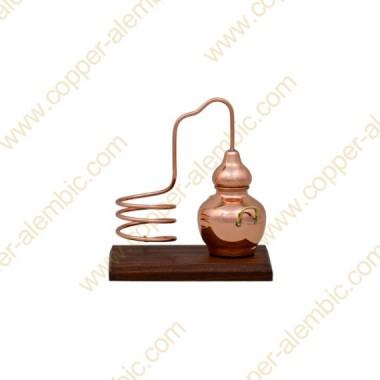 Miniature Copper Alembic, Wooden Base & Bottle Holder