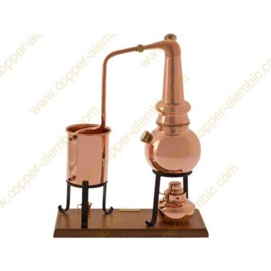 "0,7 L Premium ""Whiskey"" Destillierkolben (Alkohol-Lampe, Thermometer)"