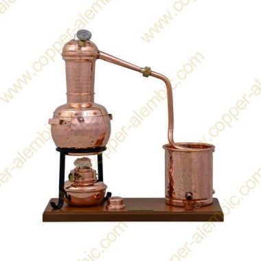 0,7 L Alambic à Colonne Premium, Thermomètre et Lampe à Alcool