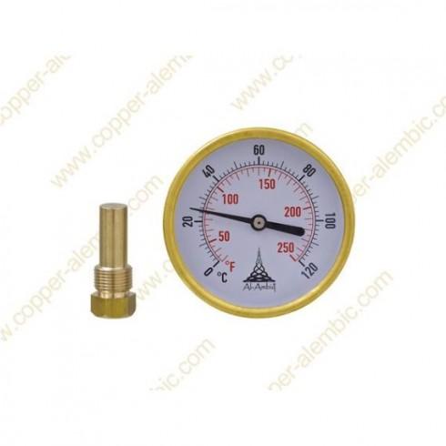 Klammerthermometer (0º - 120º) an Dampfkammer geschweisst