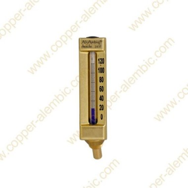 Glass Liquid Thermometer 0 - 120 °C & Brass Casing Welded to head