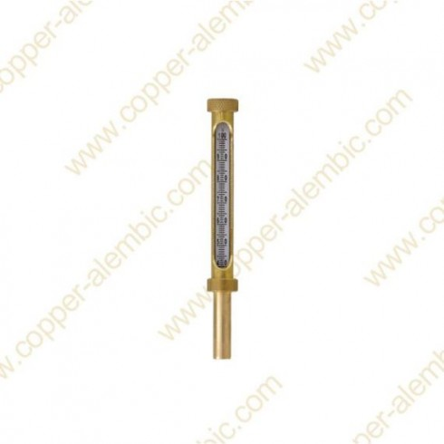 Glass Liquid Thermometer 0 - 100 °C & Brass Casing Welded to Swan Neck