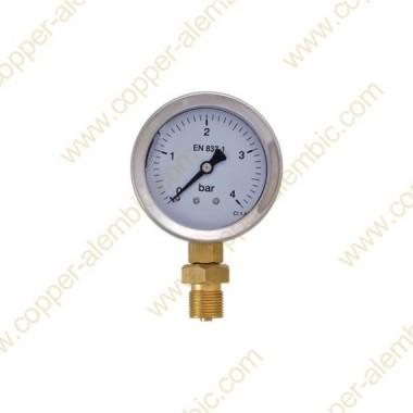 Manomètre de Pression 0 - 4 bar et Boîtier en Inox Soudé au Pot