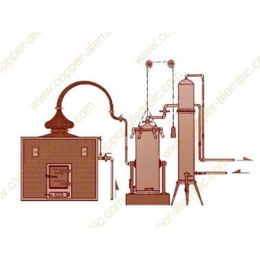 Dampferzeuger Destillierkolben Destilliersäule und Kondensator