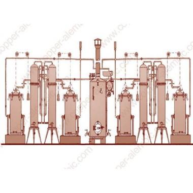 Arrastre de Vapor Portugués y 4 Columnas de Destilación