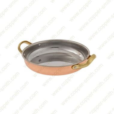 14 cm Stainless Steel Frying Pan with Brass Handles
