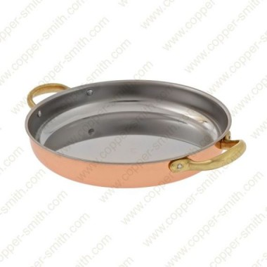 22 cm Stainless Steel Frying Pan with Brass Handles