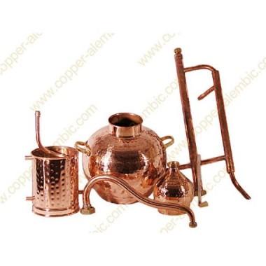 10 L Kupfer-Destillierkolben Rücklaufsystem Komplett