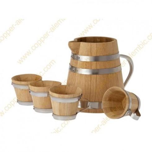 1,5 L Pot en Chêne Français avec 4 Tasses